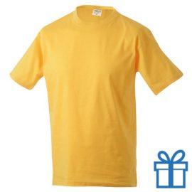 T-shirt unisex katoen ronde hals L geel bedrukken