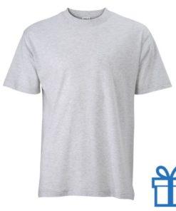 T-shirt unisex katoen ronde hals L grijs bedrukken