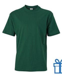 T-shirt unisex katoen ronde hals L groen bedrukken