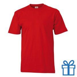 T-shirt unisex katoen ronde hals L rood bedrukken