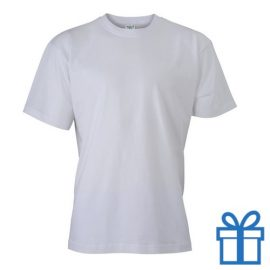 T-shirt unisex katoen ronde hals L wit bedrukken