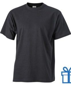 T-shirt unisex katoen ronde hals L zwart bedrukken