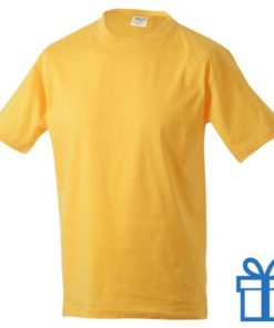 T-shirt unisex katoen ronde hals M geel bedrukken