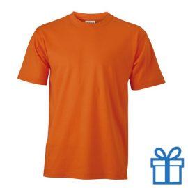 T-shirt unisex katoen ronde hals M oranje bedrukken