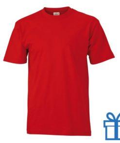 T-shirt unisex katoen ronde hals M rood bedrukken
