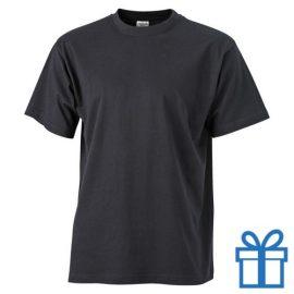 T-shirt unisex katoen ronde hals M zwart bedrukken