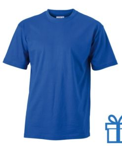 T-shirt unisex katoen ronde hals S blauw bedrukken