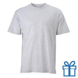 T-shirt unisex katoen ronde hals S grijs bedrukken