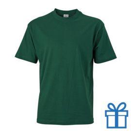 T-shirt unisex katoen ronde hals S groen bedrukken