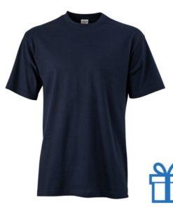 T-shirt unisex katoen ronde hals S navy bedrukken
