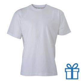 T-shirt unisex katoen ronde hals S wit bedrukken
