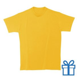 T-shirt unisex rond zware kwaliteit L geel bedrukken