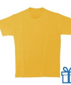 T-shirt unisex rond zware kwaliteit M donkergeel bedrukken