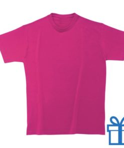 T-shirt unisex rond zware kwaliteit M roze bedrukken