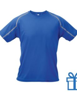 T-shirt unisex sport L blauw bedrukken
