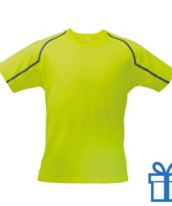 T-shirt unisex sport S geel bedrukken