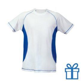 T-shirt unisex sport budget S blauw bedrukken