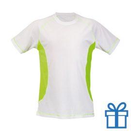 T-shirt unisex sport budget S geel bedrukken