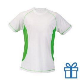 T-shirt unisex sport budget S groen bedrukken