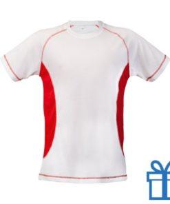 T-shirt unisex sport budget S rood bedrukken