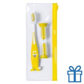 Tandenborstel set kids geel bedrukken