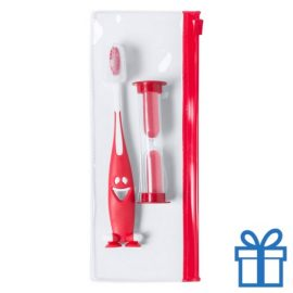 Tandenborstel set kids rood bedrukken