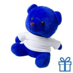 Teddybeertje wit shirt blauw bedrukken