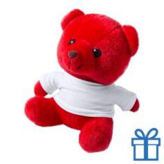 Teddybeertje wit shirt rood bedrukken