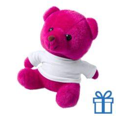 Teddybeertje wit shirt roze bedrukken