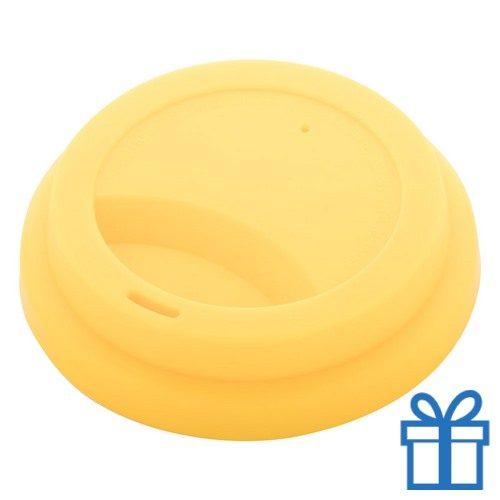 Thermo mok op maat deksel geel bedrukken