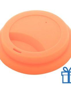 Thermo mok op maat deksel oranje bedrukken