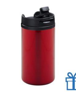 Thermomok RVS 280ml rood bedrukken