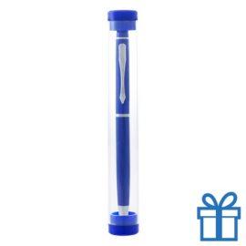 Touchscreen balpen in kokertje blauw