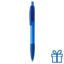 Transparante pen rubberen grip blauw