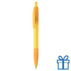 Transparante pen rubberen grip geel