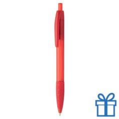 Transparante pen rubberen grip rood