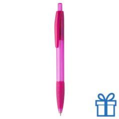 Transparante pen rubberen grip roze