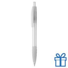 Transparante pen rubberen grip wit