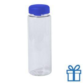Transparante plastic drinkfles 550ml blauw bedrukken