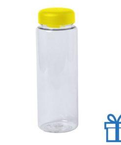 Transparante plastic drinkfles 550ml geel bedrukken