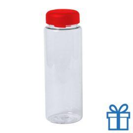 Transparante plastic drinkfles 550ml rood bedrukken
