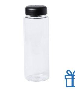 Transparante plastic drinkfles 550ml zwart bedrukken