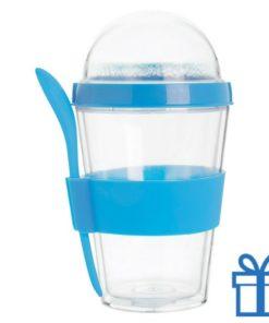 Transparante yoghurt cup blauw bedrukken