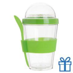 Transparante yoghurt cup groen bedrukken