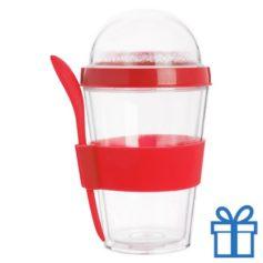 Transparante yoghurt cup rood bedrukken