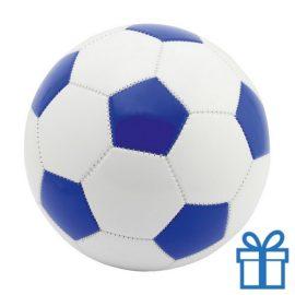 Voetbal leer wit blauw bedrukken