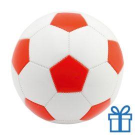 Voetbal leer wit rood bedrukken