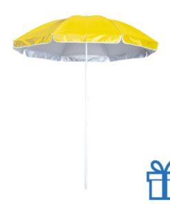 Vrolijke strandparasol geel bedrukken