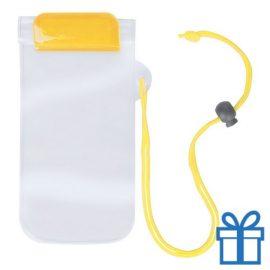 Waterdicht telefoonhoesje onder water geel bedrukken