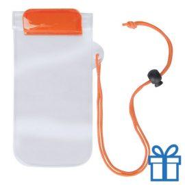 Waterdicht telefoonhoesje onder water oranje bedrukken